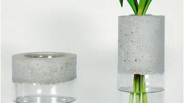 créer ses supports: le vase bimatiere et coeur en beton