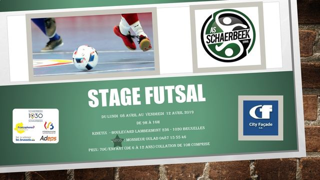 Stage futsal de l'As City Façade Schaerbeek