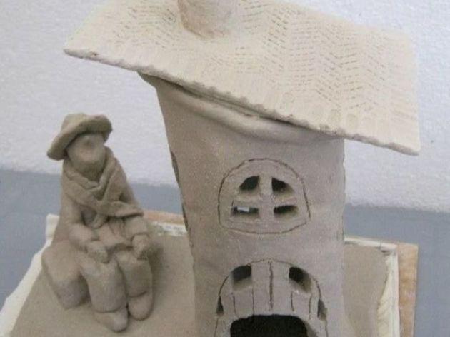 petites maisons nids d 39 oiseaux photophores en terre cuite atelier sculpture et poterie par. Black Bedroom Furniture Sets. Home Design Ideas