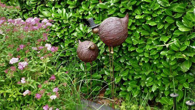 Couple d'échassiers au powertex (déco pour extérieur)