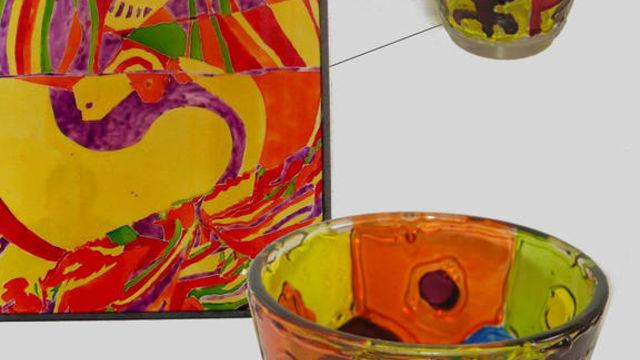 peinture sur plexi et verre (vitrail et photophore)